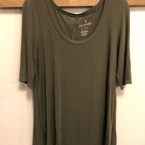 AE Soft & Sexy Olive Scoop Neck Flowy Tee